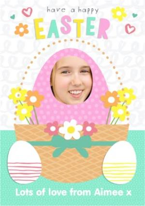 Greeting Cards - Egg In A Basket Personalised Photo Upload Happy Easter Card - Image 1