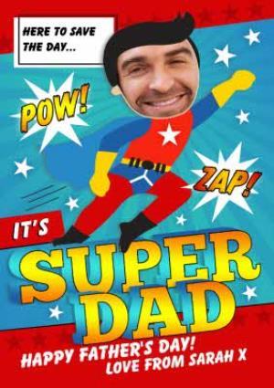 Greeting Cards - Cartoon Super Dad Photo Upload Card - Image 1