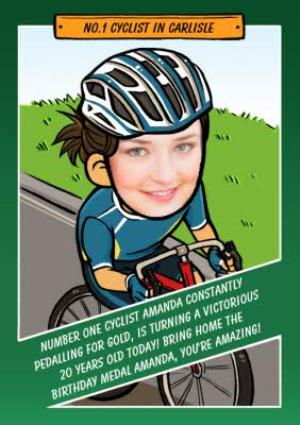 Greeting Cards - Birthday Card - Face In The Hole - Female - Photo Upload - Sport - Cycling - Image 1