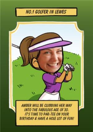 Greeting Cards - Birthday Card - Face In The Hole - Female - Photo Upload - Sport - Golfer - Image 1