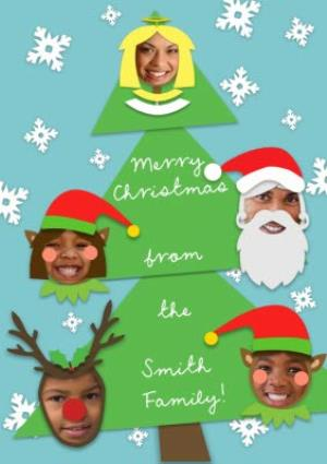 Greeting Cards - Christmas Tree With Characters Personalised Photo Upload Christmas Card - Image 1