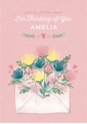 Greeting Cards - Colourful Garden Flowers Personalised Thinking Of You Card - Image 1