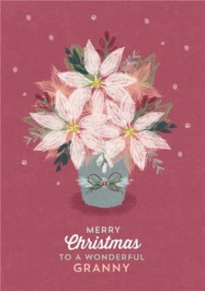 Greeting Cards - Christmas Card - Merry Christmas - Wonderful Granny - Poinsettia - Image 1