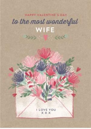 Greeting Cards - Bursting With Flowers To My Wonderful Wife Valentine's Day Card - Image 1