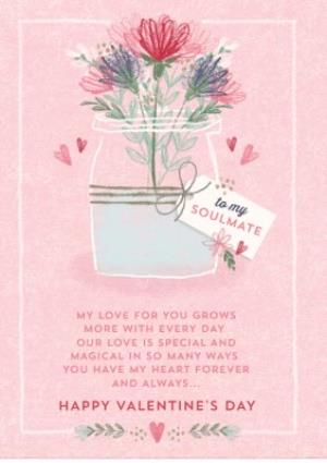 Greeting Cards - Traditional Floral To My Soulmate Pink Valentines Day Card - Image 1