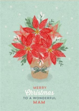 Greeting Cards - Christmas Card - Merry Christmas - Wonderful Mam - Poinsettia - Image 1