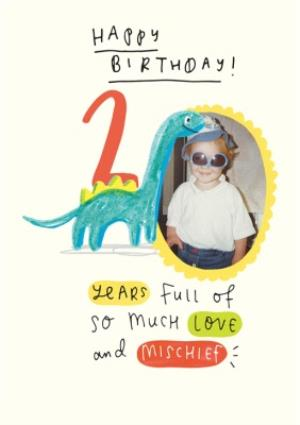 Greeting Cards - Dinosaur Second Birthday Photo Upload Card - Image 1