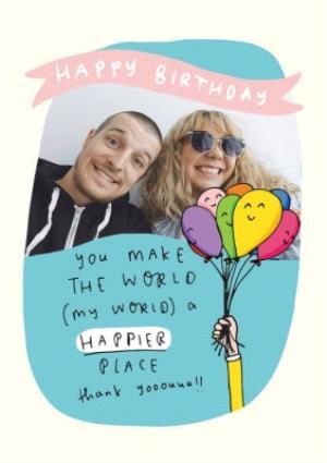 Greeting Cards - Birthday Balloons Photo Upload Card - Image 1