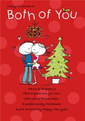 Greeting Cards - Both Of You Under The Mistletoe Personalised Merry Christmas Card - Image 1