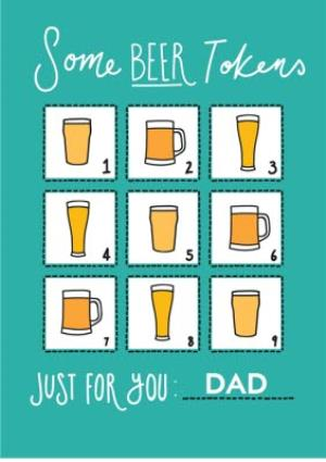 Greeting Cards - Beer Tokens Happy Father's Day Card - Image 1