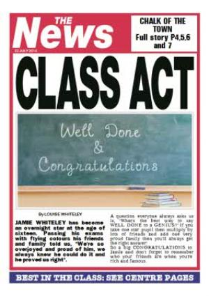 Greeting Cards - Class Act Newspaper Headline Personalised Congratulations Card - Image 1