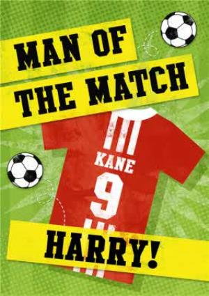 Greeting Cards - Man Of The Match Football Personalised Happy Birthday Card - Image 1