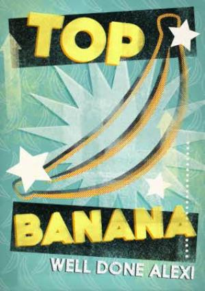 Greeting Cards - Top Banana And Stars Personalised Well Done Card - Image 1
