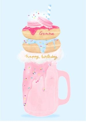 Greeting Cards - Female Birthday card - milkshake - freak shake - Image 1