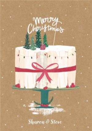 Greeting Cards - Christmas Cake Personalised Greetings Card - Image 1