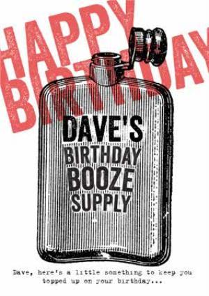 Greeting Cards - Birthday Booze Supply Personalised Happy Birthday Card - Image 1