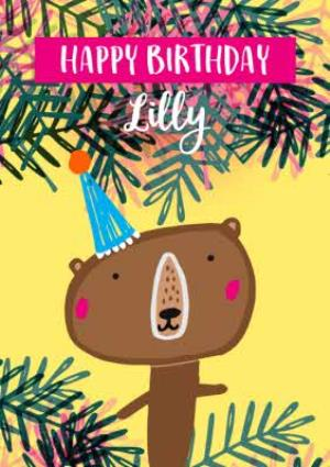 Greeting Cards - Cute Modern tropical Bear birthday card - Image 1