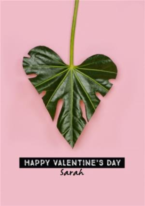 Greeting Cards - Cute Heart Shaped Leaf Personalised Happy Valentine's Day Card - Image 1