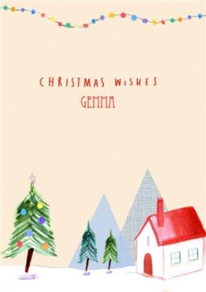 Greeting Cards - Christmas Scene And Wishes Personalised Merry Christmas Card - Image 1