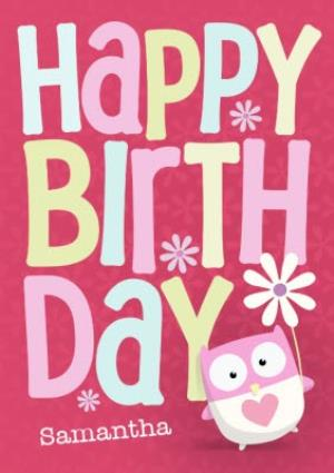 Greeting Cards - Bright Pink Cartoon Owl Personalised Happy Birthday Card - Image 1