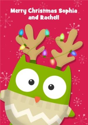 Greeting Cards - Festive Owl Personalised Merry Christmas Card - Image 1