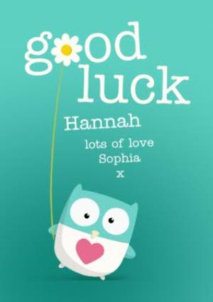 Greeting Cards - Cartoon Owl Personalised Good Luck Card - Image 1