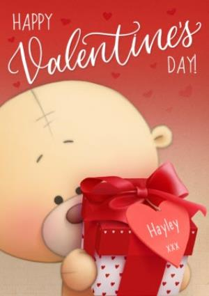 Greeting Cards - Adorable Cuddle Bear Personalised Happy Valentine's Day Card - Image 1