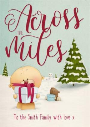 Greeting Cards - Personalised Across The Miles With Love At Christmas Card - Image 1