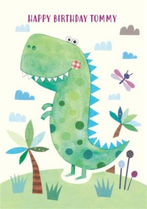 Watercolour T Rex Personalised Happy Birthday Card