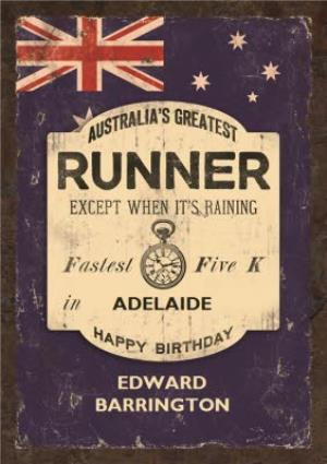 Greeting Cards - Australias Greatest Runner Personalised Card - Image 1