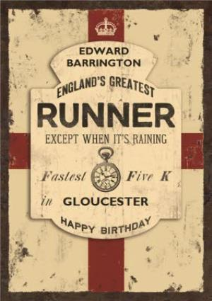 Greeting Cards - Englands Greatest Runner Personalised Name Card - Image 1
