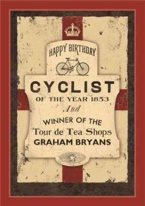 Greeting Cards - Englands Cyclist Of The Year Personalised Card - Image 1