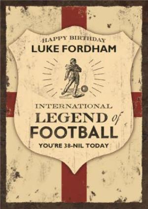 Greeting Cards - Englands Football Legend Personalised Name Card - Image 1