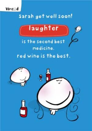 Greeting Cards - Laughter And Red Wine Personalised Get Well Soon Card - Image 1