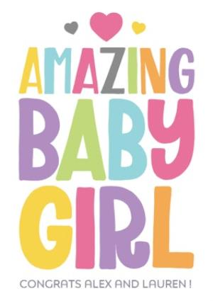 Greeting Cards - Amazing Baby Girl Personalised Card - Image 1