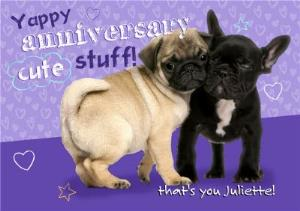 Greeting Cards - Cute Puppies Yappy Anniversary Card - Image 1
