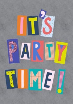 Greeting Cards - Colourful Block Letters Its Party Time! Card - Image 1