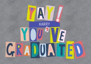 Greeting Cards - Colourful Block Letters Yay! Youve Graduated Card - Image 1