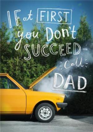 Greeting Cards - Call Dad Yellow Car Card - Image 1