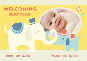Greeting Cards - Baby Elephants New Baby Photo Card - Image 1
