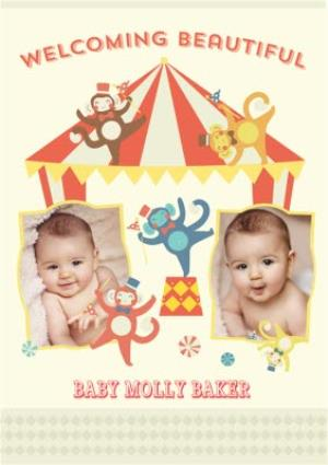 Greeting Cards - Circus Act New Baby Multi-Photo Card - Image 1