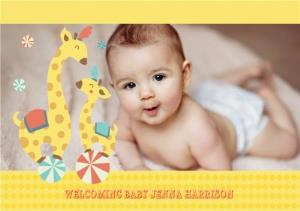 Greeting Cards - Circus Giraffes New Baby Photo Card - Image 1