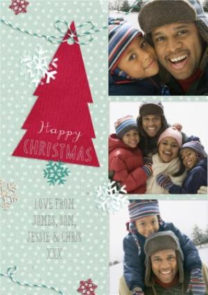 Greeting Cards - Festive Snowflakes And Tree Personalised Photo Strip Happy Christmas Card - Image 1