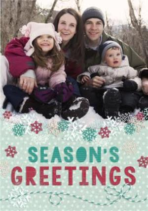 Greeting Cards - Colourful Snowflakes Season's Greetings Photo Card - Image 1