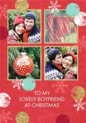 Greeting Cards - Red And Gold 4 Square Personalised Photo Upload Christmas Card For Boyfriend - Image 1