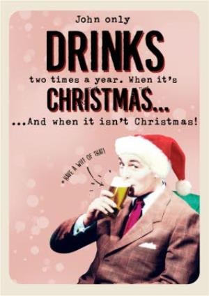 Greeting Cards - Drinks And Christmas Personalised Joke Card - Image 1