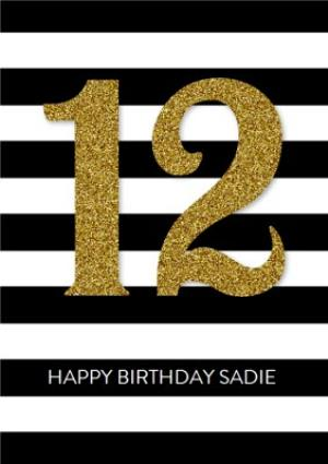 Greeting Cards - Black And White Stripes Personalised Happy 12th Birthday Card - Image 1