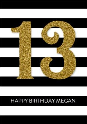 Greeting Cards - Black And White Striped Happy 13th Birthday Card - Image 1