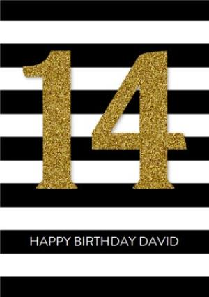 Greeting Cards - Black And White Stripes Personalised Happy 14th Birthday Card - Image 1