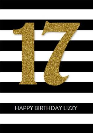 Greeting Cards - Black And White Stripe Personalised Happy 17th Birthday Card - Image 1